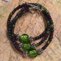 Green and Purple - Beaded Wrap Bracelet