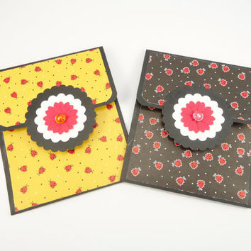 Ladybug gift card holders, set of 2, Mothers Day gift card holders, birthday, anniversary, thank you, congratulations, black yellow red