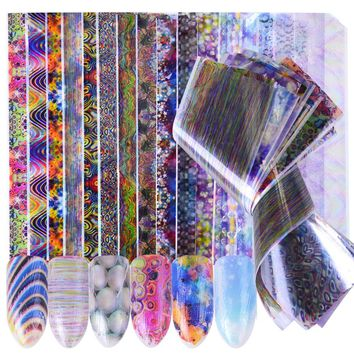 16pcs Holographic Sticker Nails Foils Bubble Stripe Starry Nail Art DIY Adhesive Tips Polish Gel Designs Nail Decal Set SCH115
