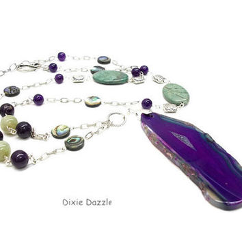 "Long boho style agate slice pendant, geode pendant with amethyst, jasper and abalone shell coin beads. 36"" Statement necklace, made in TN"