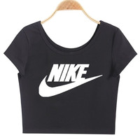 """Nike"" Print Round Neck Solid Cotton Chic Short Sleeve Crop Top Tee"