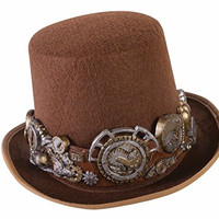 Forum Women's Steampunk Top Hat with Deluxe Band, Multi, One Size