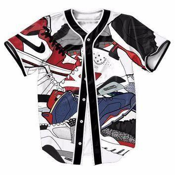 Jordan Shoes 3D Print Cool Baseball Jersey Hip Hop Shirt