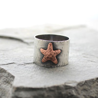 Starfish Ring, Copper and Sterling silver band ring, Metalsmithing, Metalwork, Gifts for her, ONE of a KIND, SIZE 9
