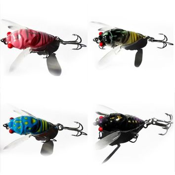 Random Color New Promotions 1 Pc 4-Color Insect Cicada Baits Fishing Lures Bass Crank Baits 4cm Float Baits articulos de pesca