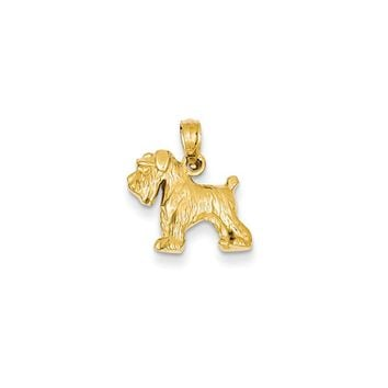 14k Yellow Gold 2D Schnauzer Pendant
