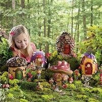 "Fairy Village Houses, Resin - Hand-painted - 9""H - Set of 5"