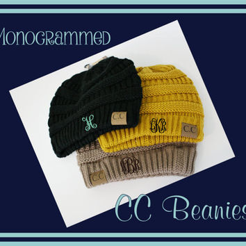 Monogrammed CC Beanies - Embroidered Gift