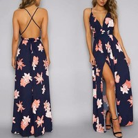 Women's Deep-V Neck Navy Floral Print Strappy Maxi Dress with High Slit