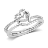 1/7 CT. T.W. Diamond Entwined Hearts Promise Ring in Sterling Silver - View All Rings - Zales
