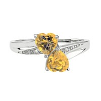Citrine Double Heart and Diamond Sterling Silver Birthstone Ring