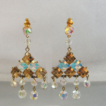 Vintage Rhinestone Earrings. Austrian Crystal. Gold and Clear Prism Rhinestones. Showstoppers. Geometric.