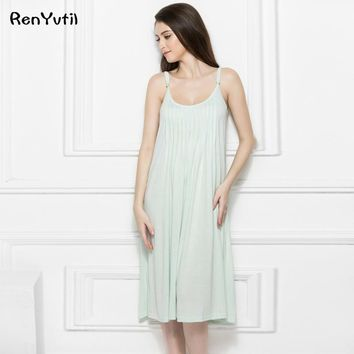 RenYvtil Summer Lace Nightgowns Sexy Sleeveless Elegant Sleepwear Long Cotton Nightgown Women Sleep Dress Princess Home Dress