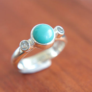 Turquoise Engagement Ring White Topaz Ring Sterling Silver Turquoise Topaz Promise Ring Silversmithed Metalsmithed