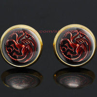 game of thrones house targaryen dragon gold plated stud post earrings,a song of ice and fire earrings,game of thrones jewelry