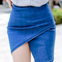 Blue High Waist Asymmetric Wrap Skirt