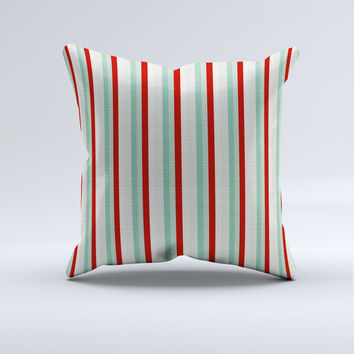Mint/Red Striped Throw Pillow
