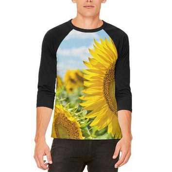 ESBGQ9 Sunflower Fields Mens Raglan T Shirt