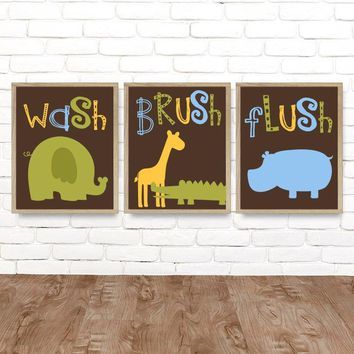 Jungle Animal BATHROOM Wall Art, Safari Jungle Animals Bath, Canvas or Print Boy Girl Child Kid Bathroom, Safari Wash Brush Rules, Set of 3