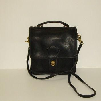 COACH Station Bag, Vintage Black Leather Shoulder Purse, Made in United States