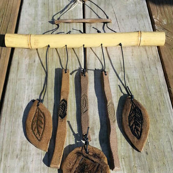 Bamboo Windchime, Ceramic Windchime, Garden Art, Hanging Chimes