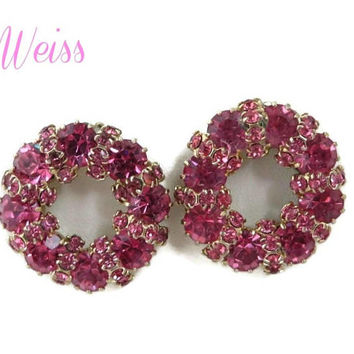 Weiss Pink Rhinestone Earrings - Vintage Flower Wreath Clip-on Earrings, Bridal Jewelry, Valentine's Gift, Gift Boxed