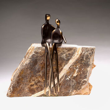SACRED TRUST >> This finely-polished bronze sculpture of soul mates makes a perfect 8th anniversary gift!