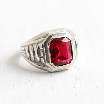 Vintage Art Deco Simulated Garnet Ring - 1930s Size 9 1/4 Sterling Silver Hallmarked Uncas Red Glass Stone Geometric Setting Jewelry