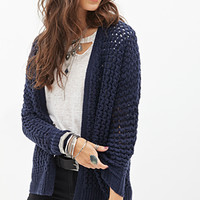 FOREVER 21 Open-Knit Dolman Cardigan Navy