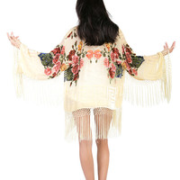 Light Yellow Floral Velvet Burnout Gypsy Fringe Beaded Kimono Jacket