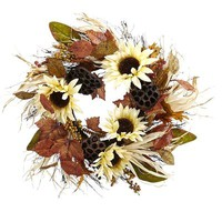 Faux Sunflower & Lotus Pod Wreath