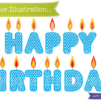 Happy Birthday Candles Clipart. Birthday Clipart. Blue Candles Clip Art. Birthday Clipart. Happy Birthday Candle Vectors. Birthday Digital.