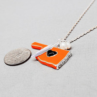 Orange and Black Oklahoma State Necklace with Charms