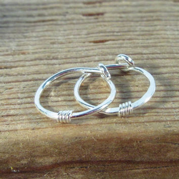 Hoop Earrings Sterling Silver with Silver