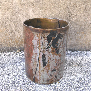 Metal Wastebasket, Upcycled Trash Can, Metal Storage Bin, Home or Office Accessory, Bathroom Kitchen Industrial Decor