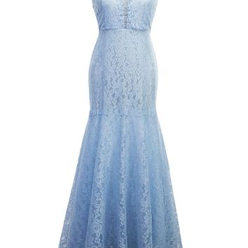 Streetstyle  Casual Exquisite Mermaid V-Neck Hollow Out Plain Lace Maxi Dress