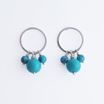 Turquoise Hoop Earrings - Gemstone Hoops - Circle - Sterling Silver Dangle Post Earrings