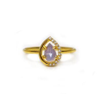Lilac Quartz and Topaz Dew Drop Ring