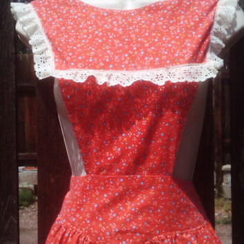 Vintage 1950s Apron/ Pinafore/ Full Length/ Red Floral/ Housewife/ Small/ Medium