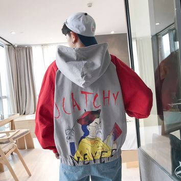 New Japanese Fashion Trend Campus Wind Boys Wild Casual Loose-selling Cotton Back Print Jacket