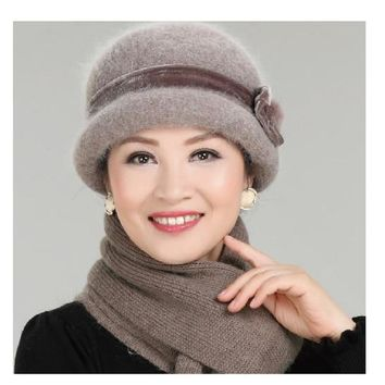 New Fashion Women Winter Hat Sets Floral Skullies Wool Mixed Rabbit Fur Warm Outdoor Knitted Beanies Baggy Headwear Cap