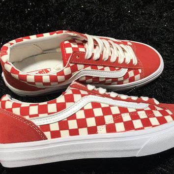 LMFON Vans Old Skool Style 36 Red Low Tops Flats Shoes Canvas Sneakers Sport Shoes