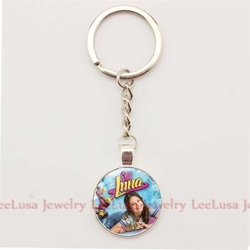 Soy Luna glass dome KeyChain love Handmade Key chains Children's gift Alloy Key Ring Key Holder Porte Clef Gifts