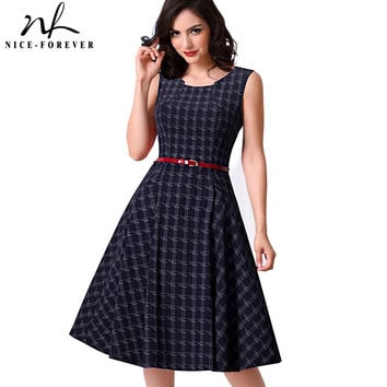 Nice-forever New Brief Elegant Ladylike Vintage Charming With Belt  Print Geometry Sleeveless Ball Gown Formal Woman Dress A011