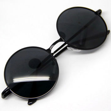 Goggles Steampunk Sunglasses Men Round Glasses Anti-UV400 Vintage Style Black/Tawny