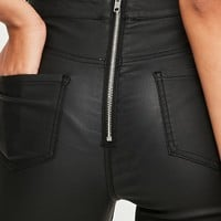 Missguided - Black Coated Back Zip Pants