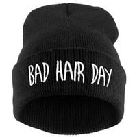 Women's Men's Hat Unisex Warm Winter Knit Fashion Cap Hip-hop Beanie Hats Black (Bad hair day)