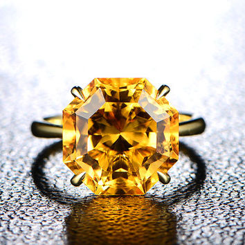 Citrine Engagement Ring,Unique Hexagonal 9.5ctw Yellow Citrine Solitaire Ring 18K Yellow Gold,Claw Prongs,Wedding Bridal Promise Ring