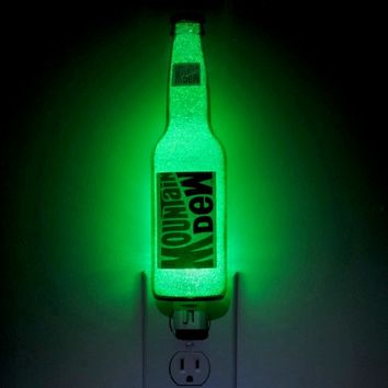 Mountain Dew 12oz Glass Night Light Bottle Lamp Light Bar Man Cave