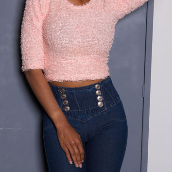 Pink Fuzzy iAMMI Cropped Blouse SMALL